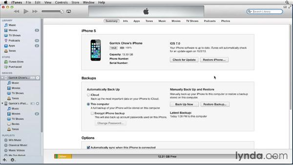 Connecting your device to your Mac or PC: iOS 7: iPhone and iPad Essential Training