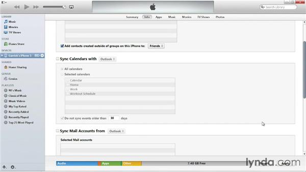 Syncing contacts and calendars from a PC: iOS 7: iPhone and iPad Essential Training