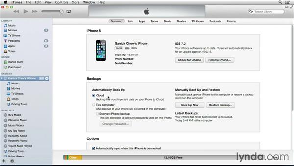 Understanding your backup options: iOS 7: iPhone and iPad Essential Training