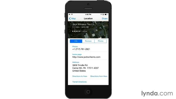 Finding addresses and nearby businesses: iOS 7: iPhone and iPad Essential Training
