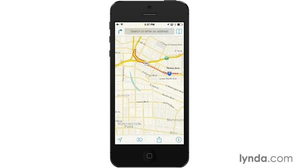 Showing traffic and alternative maps: iOS 7: iPhone and iPad Essential Training