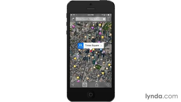 Using 3D and Flyover views: iOS 7: iPhone and iPad Essential Training