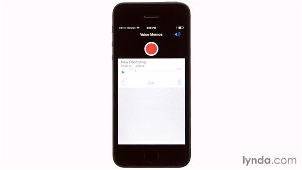 Using the Voice Memos app: iOS 7: iPhone and iPad Essential Training