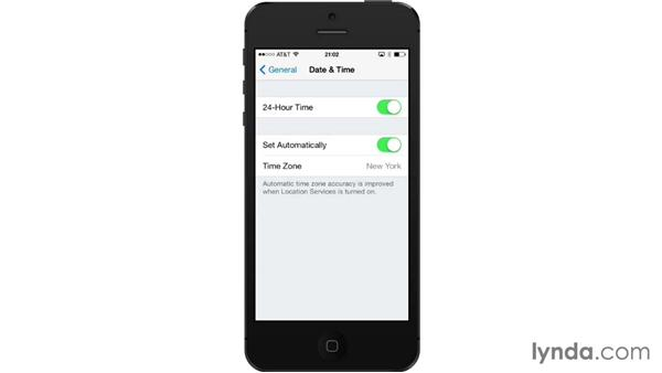 Date & Time settings: iOS 7: iPhone and iPad Essential Training
