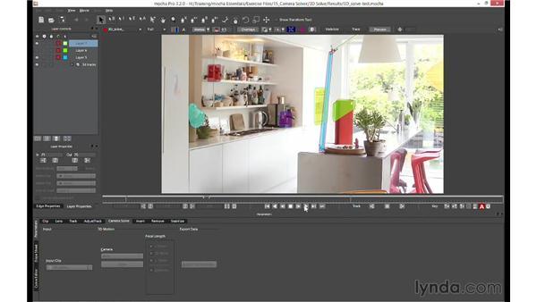 3D Camera Solver (mocha AE & mocha Pro only): mocha 3 Essential Training