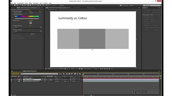 Tracking luminosity vs. color channels: mocha 3 Essential Training