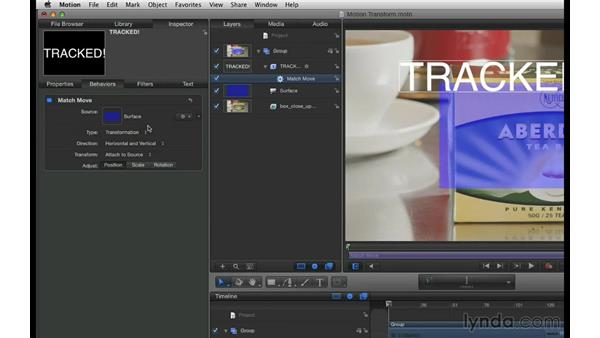 Exporting Motion transform data: mocha 3 Essential Training