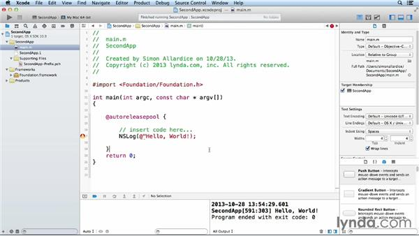Compiling and building your application: Objective-C Essential Training