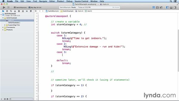 Using switch statements: Objective-C Essential Training
