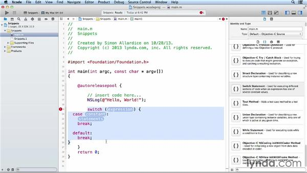 Using code snippets: Objective-C Essential Training