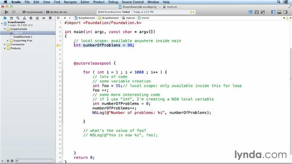 Understanding variable scope in Objective-C: Objective-C Essential Training