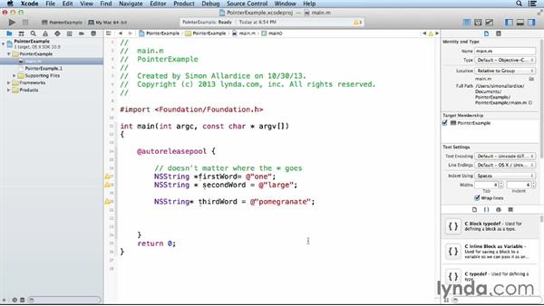 Using pointers: Objective-C Essential Training