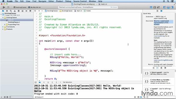 Using classes in the Foundation framework: Objective-C Essential Training