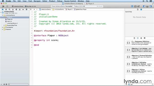 Using initializers and object keywords: Objective-C Essential Training