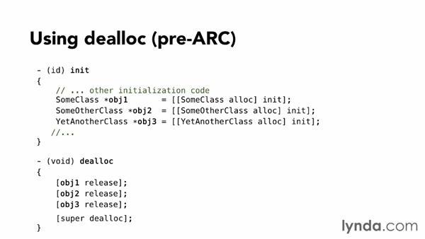 Using dealloc methods: Objective-C Essential Training
