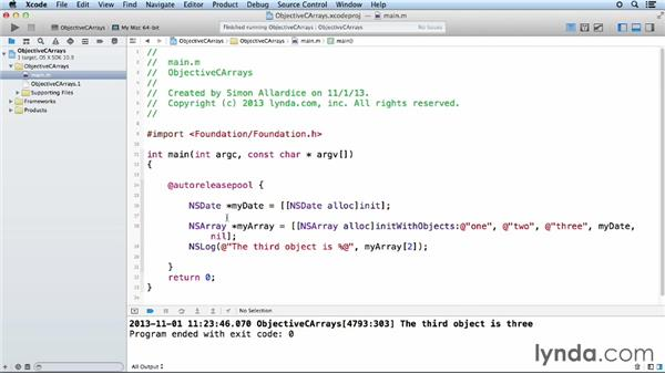 Using Objective-C array classes: Objective-C Essential Training