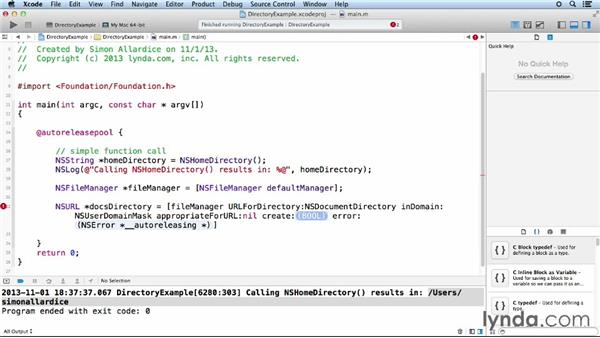 Finding the user directories: Objective-C Essential Training