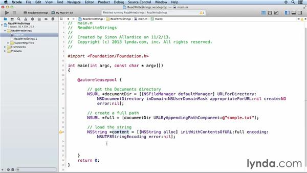 Reading and writing strings: Objective-C Essential Training