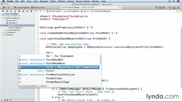 Unarchiving objects: Objective-C Essential Training