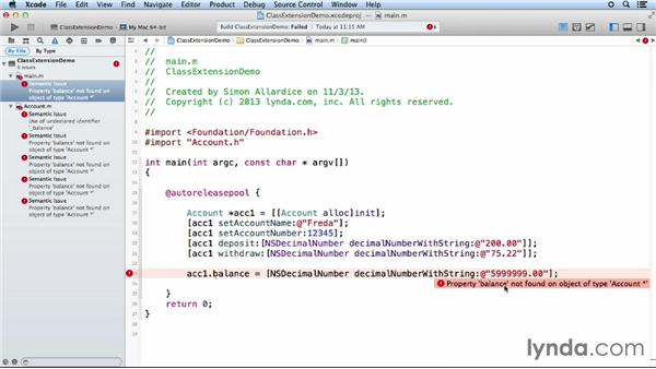 Using class extensions: Objective-C Essential Training