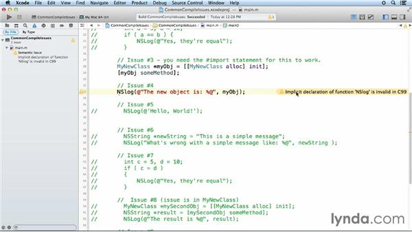 Common compile-time errors and warnings: Objective-C Essential Training
