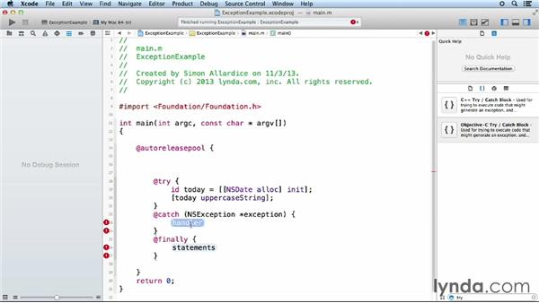 Adding exception handling: Objective-C Essential Training