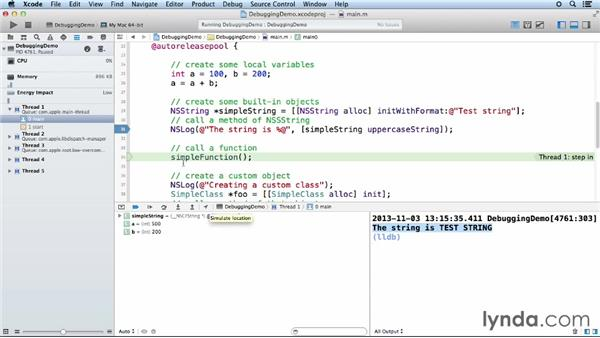 Adding breakpoints and debugging code: Objective-C Essential Training