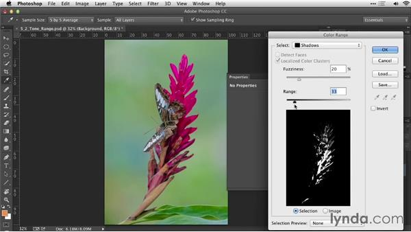 Using the Color Range command to select a tonal range: Practical Photoshop Selections