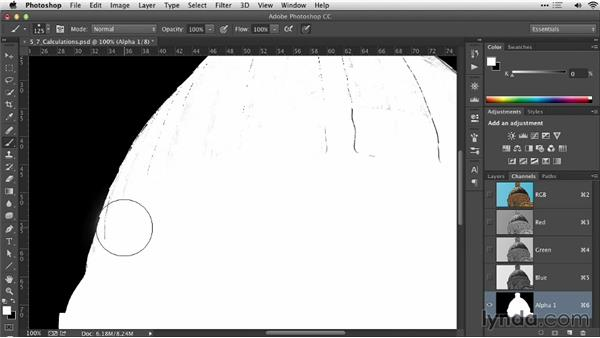 Using the Calculations command to create a selection from two channels: Practical Photoshop Selections