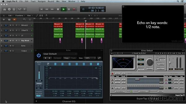 Using long delay on key lyrics: Get in the Mix with Logic Pro