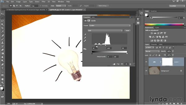 Cleaning up art with an adjustment layer: Introducing Photoshop: Design