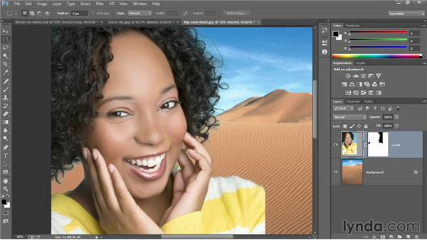 Moving a layer into a new background: Introducing Photoshop: Design