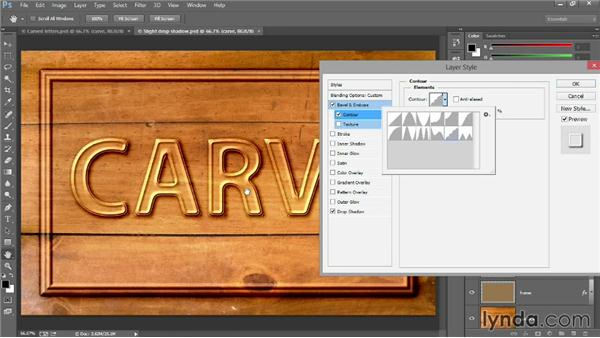 Carving letters with Bevel & Emboss: Introducing Photoshop: Design
