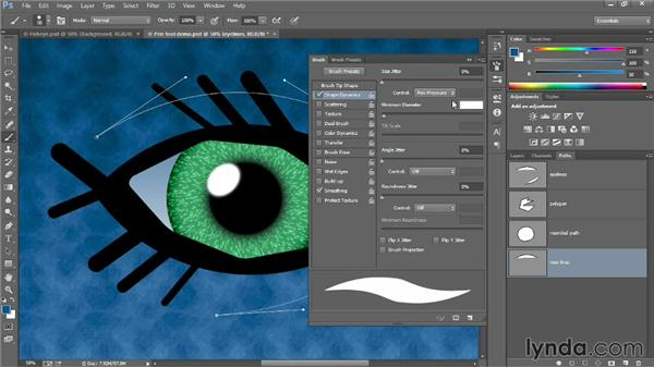 Stroking a brushstroke along a path: Introducing Photoshop: Design