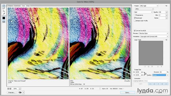 Saving an image for web and online: Introducing Photoshop: Design