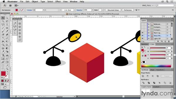 How lighting affects color: Drawing Vector Graphics: Color and Detail