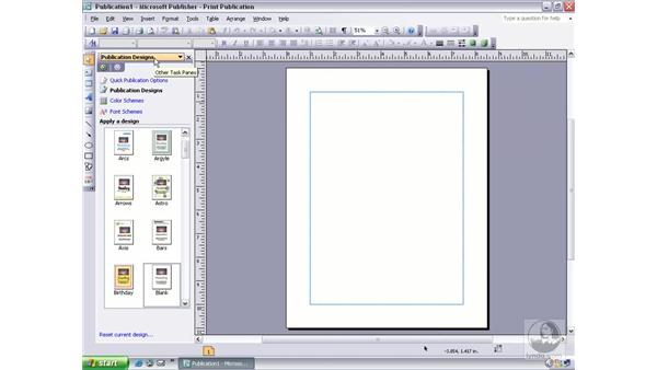 viewing the new publication task pane: Publisher 2003 Essential Training