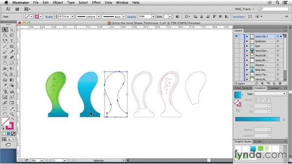 Using the inset shape technique on an illustration: Drawing Vector Graphics: Color and Detail