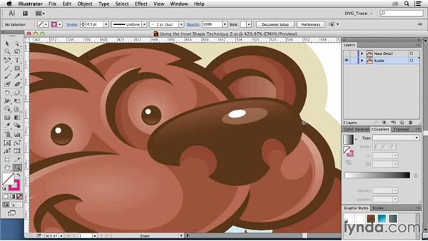 Using the inset shape technique on a brand character: Drawing Vector Graphics: Color and Detail