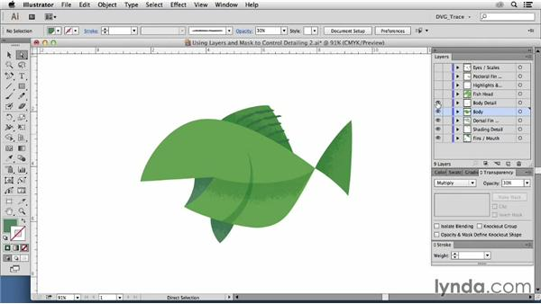 Using layers and masks to control detailing: Drawing Vector Graphics: Color and Detail