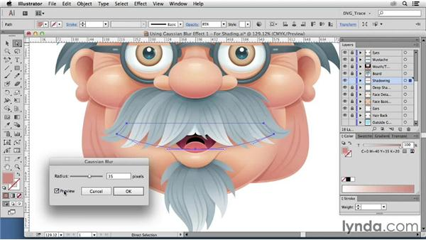 Using the Gaussian Blur effect: Drawing Vector Graphics: Color and Detail