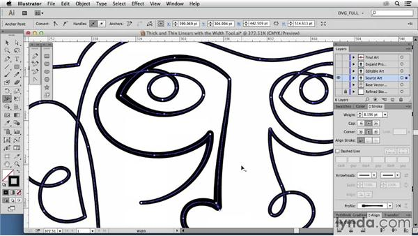 Thick and thin linears with the Width tool: Drawing Vector Graphics: Color and Detail