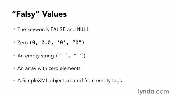 Understanding what PHP treats as true and false: PHP for Web Designers