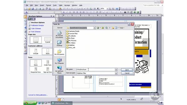 using save as: Publisher 2003 Essential Training