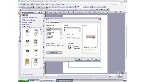 adjusting page setup options: Publisher 2003 Essential Training