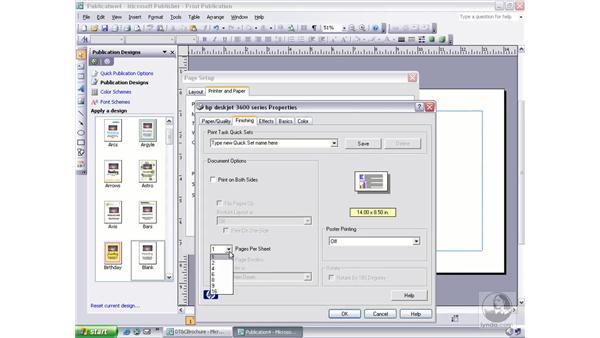 adjusting print setup options: Publisher 2003 Essential Training