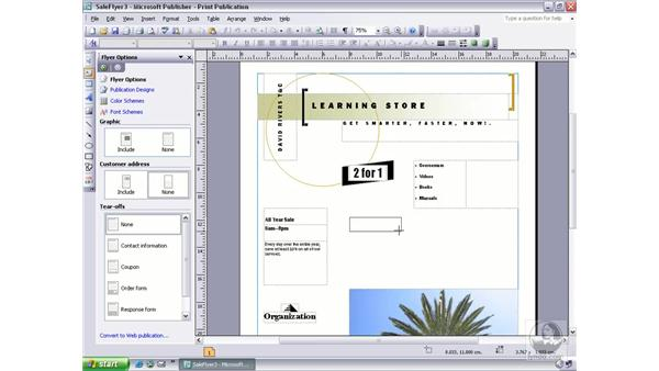 adding text to a frame: Publisher 2003 Essential Training
