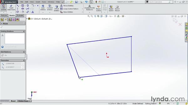 Starting a new sketch: SOLIDWORKS 2014 Essential Training