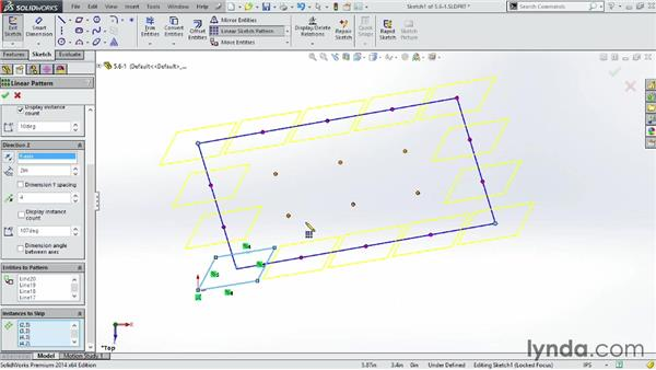 Creating repeating patterns in a sketch: SOLIDWORKS 2014 Essential Training