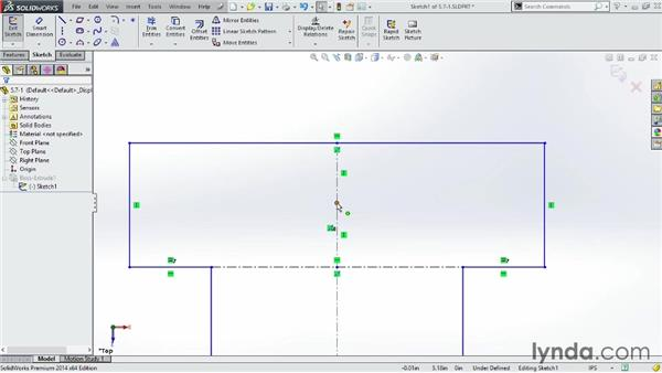 Using construction lines to build robust sketches: SOLIDWORKS 2014 Essential Training
